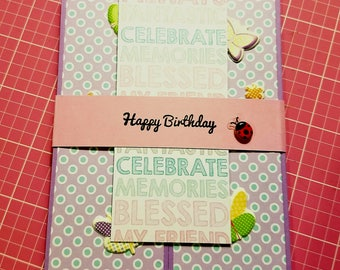 Handmade Birthday Card, for her, birthday wishes, gift card holder, gatefold birthday card, gatefold card