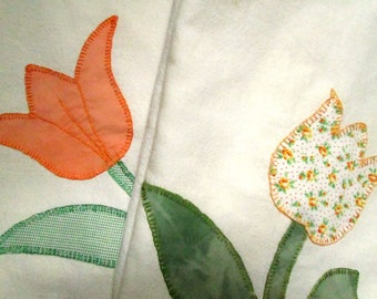 3 Hand Appliqued Bar Towels, Kitchen Towels, Tulips, Flowers