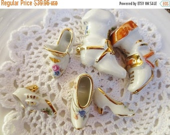 30% OFF SALE LIMOGES Shoe Boot Figurine Vintage Miniature Collection France White Gold Lot of 6