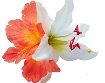 DEBRA MAY Orange Hibiscus and Lily Hair Flower