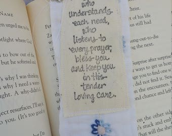 Quilted fabric bookmark - May God...
