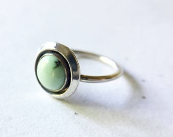 turquoise shadowbox ring, poisiden variscite, mint green sterling silver minimalist boho jewelry,