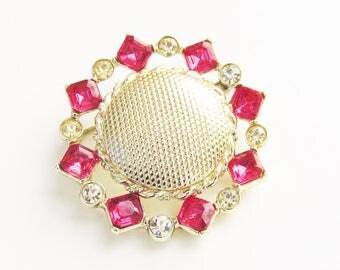 Pink Clear Rhinestone Flower Brooch 1960s Mid Century Jewelry