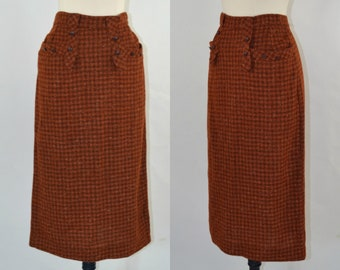 1960s Burnt Orange, Brown and Yellow Flecked Tweed Plaid Pencil Skirt, Wiggle Skirt