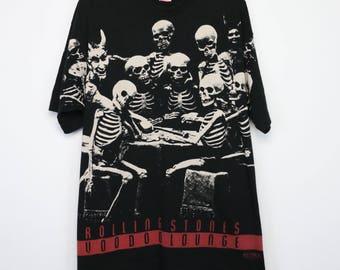 Rolling Stones Shirt Vintage tshirt 1994 Voodoo Lounge Tour Skeleton All Over Print Concert Tee 1990s Mick Jagger Keith Richards Blues Rock