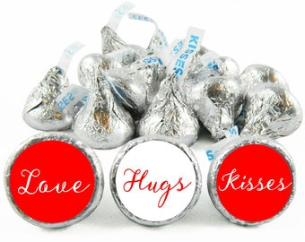 Set of 108 - Love Hugs Kisses Kiss Stickers for Hershey's Kisses. Wedding Labels for Kiss - Wedding Party Favors - #IDWED706
