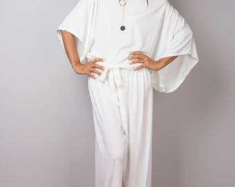 Off White Jumpsuit, Off White Jumper, Romper, Women's jumpsuit, White pants suit, White overall : Chic & Casual Collection No 1