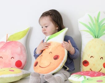 Orange cushion Orange Pillow Fruit Cushion Kawaii Orange Cushion Fruit Plush Tropical Throw Pillow