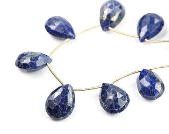 Lapis Lazuli Faceted Pear Briolettes Large Focal Blue Denim Gold Semi Precious Gemstone color shape