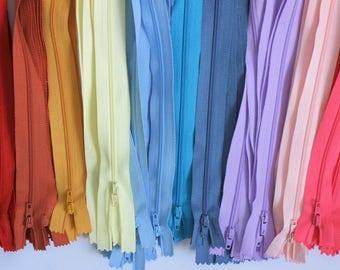 """10"""" zips, 10 inch zips, bright zips, rainbow zips, red zips, turquoise zips, lilac zips, pink zips, blue zips, UK haberdashery, sewing"""