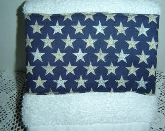 White hand/dish towel w/silver speckled stars on navy blue background, Americana, patriotic, country decor, hostess gift, 100% cotton terry