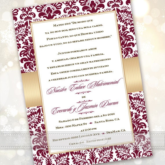 50th wedding anniversary, 50th wedding anniversary invitations, Spanish 50th anniversary, cranberry wedding anniversary, IN629
