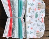 Cloth Baby Wipes Starter Kit. 3 dozen wipes.  Eco friendly reusable cloth diapering wipes. Baby Forest/Woodland Animals