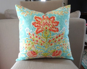 Dena Design Flower Print Pillow Cover Turquoise Blue Green Coral Decorative Throw Pillow Covers