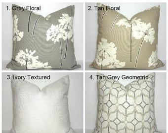 FALL is COMING SALE Neutral Floral Geometric Pillow Covers Choose Coordinates Grey Floral Tan Floral Grey Geometric Pillow Covers