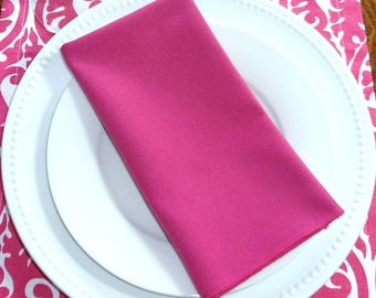 FALL is COMING SALE Sale Candy Pink Fushia Napkin Table Decor Dining Room Size 16x16 17x17 Napkins