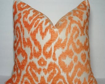 FALL is COMING SALE Orange & Ivory Flocked Pillow Cover Decorative Throw Pillow Cover Orange Upholstery Ikat Design 18x18