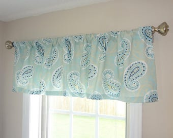 Curtain Valance Topper Window Treatment 52x15 Canal Navy Blue Paisley Valance Home Decor by HomeLiving
