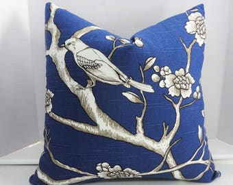 Robert Allen Dwell Studio Bird Print Royal Blue Twilight Grey Pillow Cover Decorative Throw Pillow Cover 18x18
