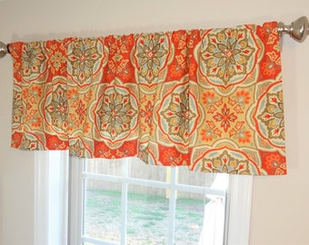 Curtain Valance Topper Window Treatment 52x15 Clay Orange Blue Gold Medallion Valance Home Decor