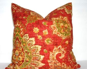 SPRING FORWARD SALE Red Green Yellow Paisley Floral Pillow Cover Decorative Pillow Cover Size 18x18