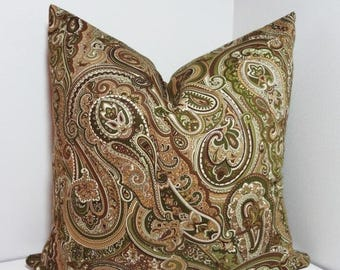 SPRING FORWARD SALE Green Tan Paisley Print Pillow Cover Decorative Throw Pillow Cover All Sizes