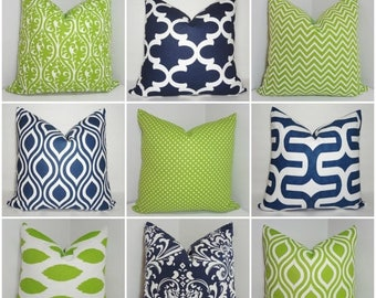 SPRING FORWARD SALE Premier Prints Navy and Lime Chartreuse Geometric Damask Ikat Coordinating Throw Pillow Covers Choose Fabric & Size