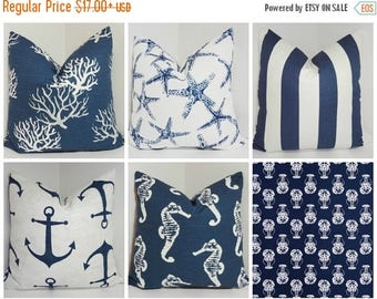 SPRING FORWARD SALE Navy Blue & White Nautical Pillow Covers Lobster Coral Stripe Starfish Seahorse Anchor Pillow Cover Choose Sizes