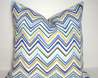 SPRING FORWARD SALE Outdoor Blue Black Beige Tan Chevron Zigzag Pillow Cover Patio Decor Size 18x18