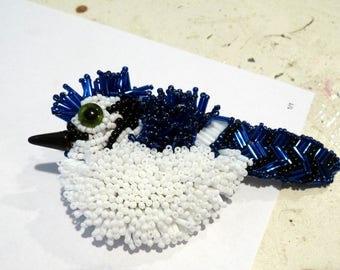 Large Blue Jay Bird Seed Bead Art to Wear Brooch Pin OOAK INBW