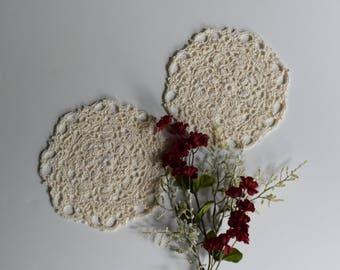 "Small Crochet Doily Pair - Off White Ecru Beige - Lacy Small Mini 6"" - Set of 2"
