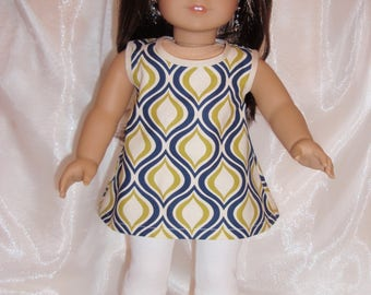 """18 Inch Doll Retro Print Cotton Top With Ivory Capris, AG Doll Clothes, 18"""" Doll Clothes, Girl Doll Clothes"""