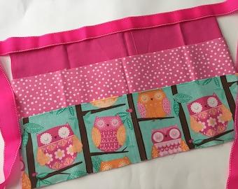 Classroom Apron-  Owls (pink & polla dots)