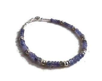 Tanzanite Bracelet - Sterling Silver Jewelry - Purple Gemstone Jewellery - December Birthstone - Beaded