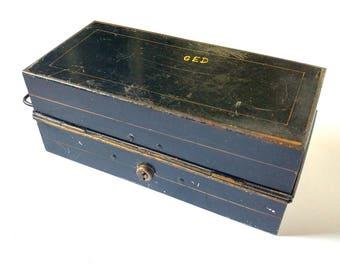 Black cash box, vintage enamel box, black tin, metal storage box, black toleware box, tin cash box, cashier box