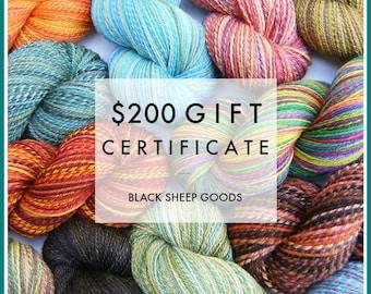 Gift Certificate - 200 Dollars - Handspun yarn gift certificate, gift for knitter, weaving yarn, Christmas gift for her