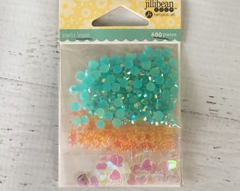 Jewels & Sequins, by Jillibean Soup, Hampton Art, 4 shades of blue sequins, card making, sewing, paper crafting, shaker cards, scrapbooks