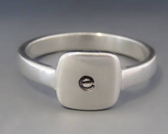 ONE Personalized & Custom Sterling Silver SQUARE Initial Ring / Mother's Letter Ring / Stacking Ring / Mother's Day Gift / Gifts for Her