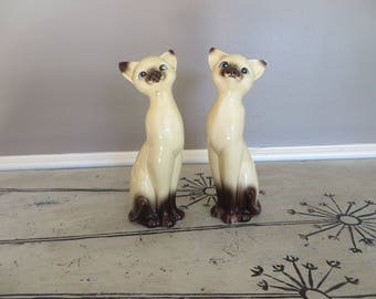 Vintage Siamese Cats Ceramic Cats Japan Blue Eyed Cat Kittens Cat Figurines