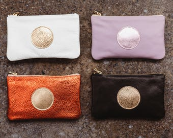 ARIE Leather Cosmetic Bag. Leather Makeup Bag. Small Leather Pouch. Small Leather Clutch. Small Leather Bag.