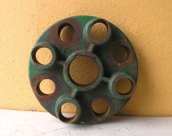 Industrial Decor Machinery Part Steampunk Supply Gearhead Artist Gift John Deere Green Salvaged Metal diy candle holder lampbase supply