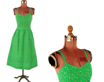 Vintage 1970's Lanz Bright Green Cotton Small Calico Floral Print Summer Sleeveless Festival Dress S