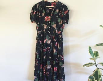 1930s 1940s Dress / Silk Floral Dress / 1940s Black Flower Print Dress / Shirring /  late 1930s Dress / Medium Large