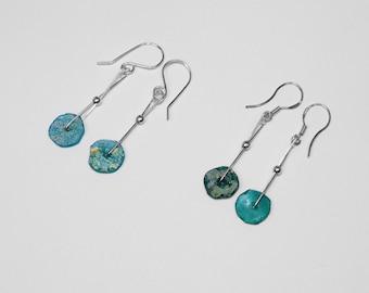 Roman Glass Earrings in Silver, Choice of 2
