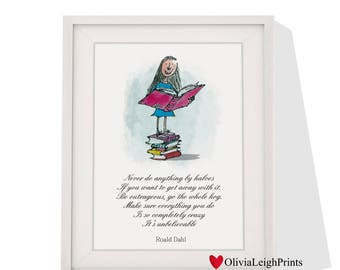 Roald Dahl Matilda Quote Wall Art Print