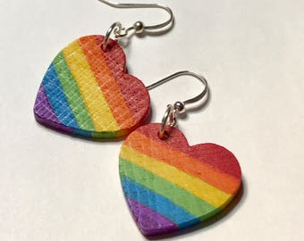 LGBT Gay Pride Earrings Rainbow Hearts Lesbian Jewelry LGBTQ