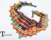 Châle shawl femme Tricotcolor knit accessories wool laine multicolore étole scarf cadeau femme tricot crochet knit schal orange rose mode