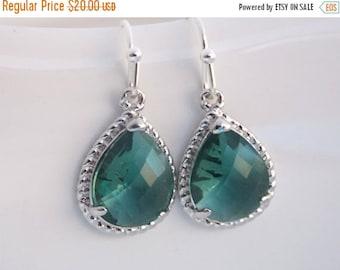SALE Teal Earrings, Silver Teal Glass Earrings, Drop, Dangle, Aqua, Green, Bridesmaid Jewelry, Wedding Jewelry, Bridesmaid Earrings, Bridesm