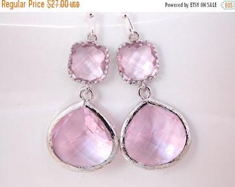 SALE Pink Earrings, Glass Earrings, Silver Earrings, Pink, Soft Pink, Light Pink, Wedding Jewelry, Bridesmaid Earrings, Bridal Bridesmaid Gi