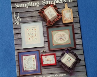 Sampling Samplers II, Designs by Barbara Christopher, vintage counted cross stitch pattern chart booklet by Pegasus Originals, 1986